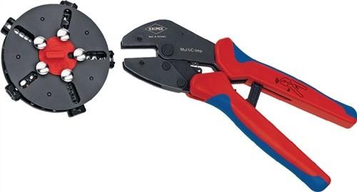 Crimphebelzange L.250mm MultiCrimp m.2Komp.-Hüllen KNIPEX Wechselmagazin